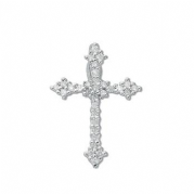 9ct white Gold 0.25ct Diamond set budded cross pendant